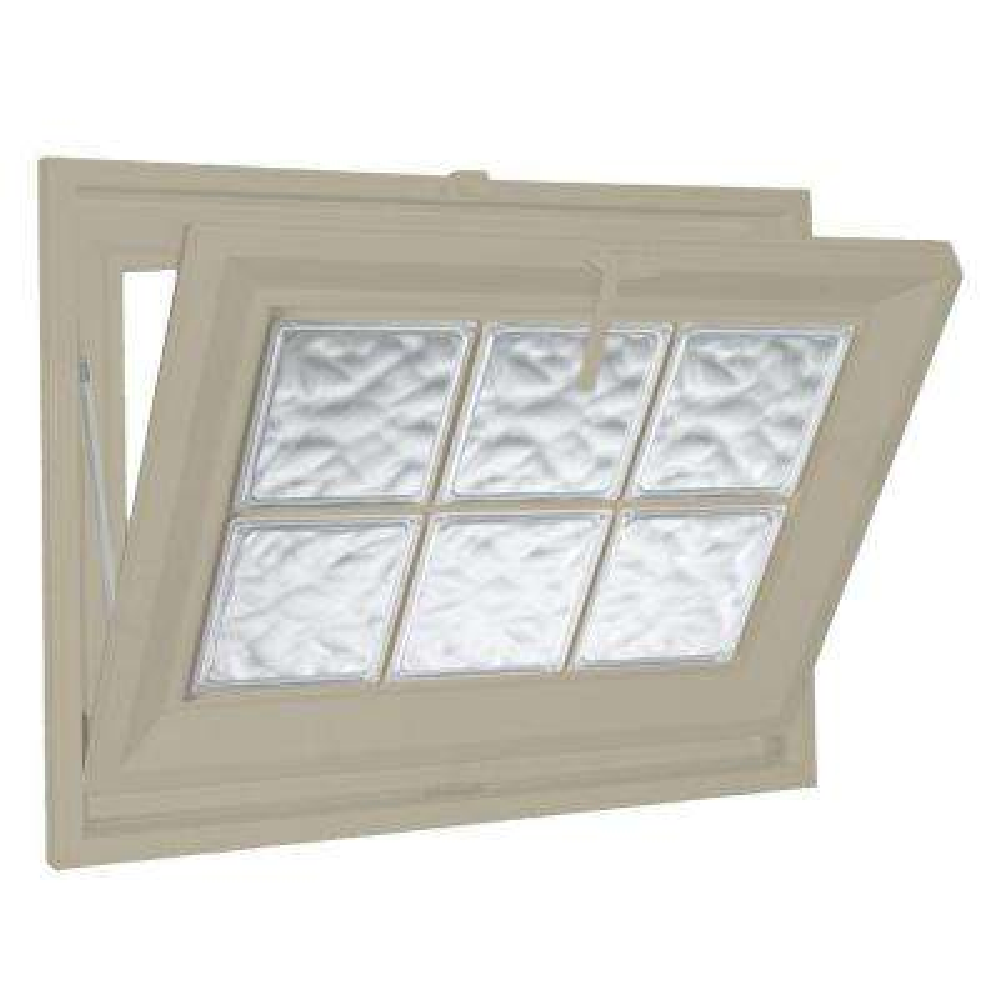 39 in. x 15 in. Acrylic Block Hopper Vinyl Window