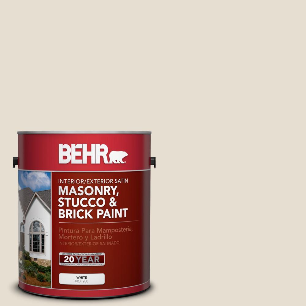 1 gal. #750C-2 Hazelnut Cream Satin Interior/Exterior Masonry, Stucco and Brick Paint
