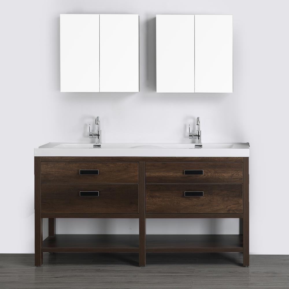 Streamline 63 in. W x 32.4 in. H Bath Vanity in Brown with Resin Vanity Top in White with White Basin and Mirror