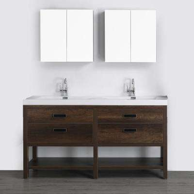 63 in. W x 32.4 in. H Bath Vanity in Brown with Resin Vanity Top in White with White Basin and Mirror