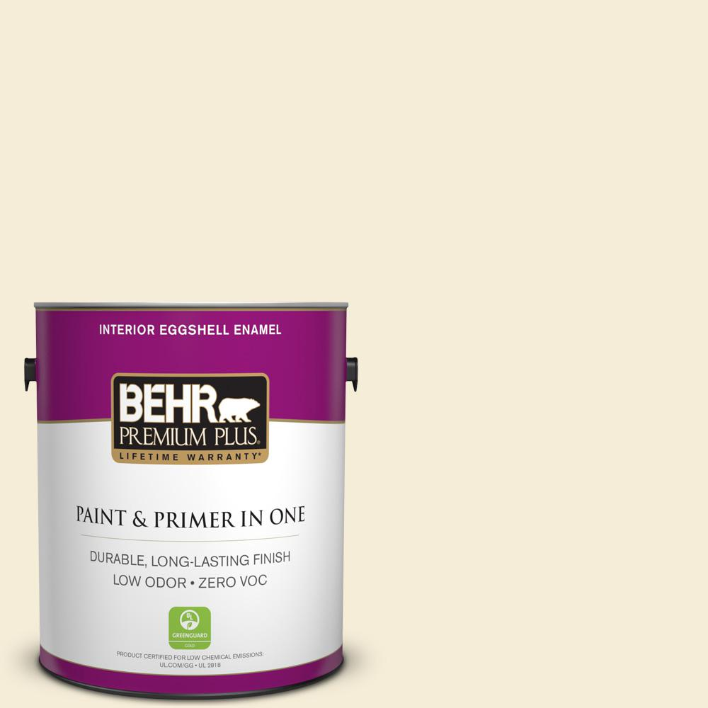 BEHR Premium Plus 1 gal. #W-D-420 Beach White Eggshell Enamel Zero VOC Interior Paint and Primer in One