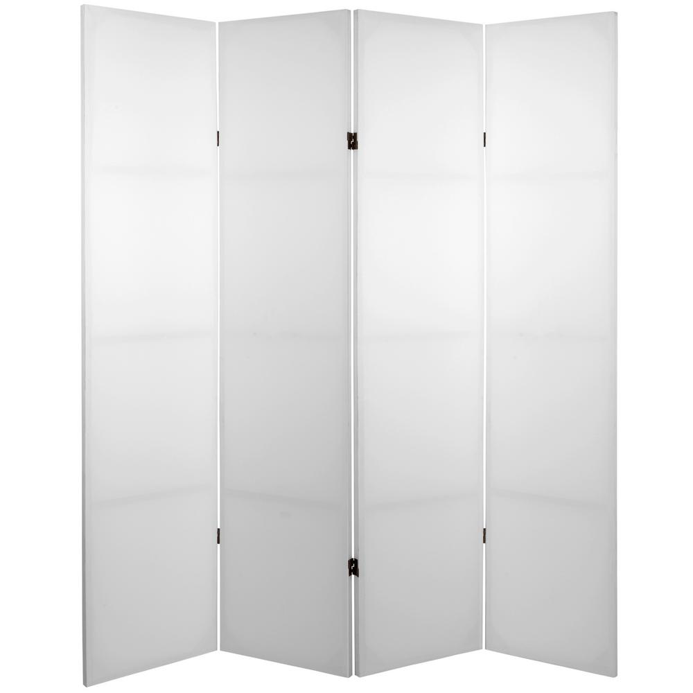 Oriental Furniture 6 Ft. White Do It Yourself Canvas 4 Panel Room Divider