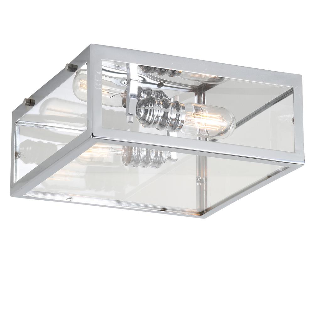 Grayson 12 in. Chrome/Clear Metal/Glass LED Flush Mount