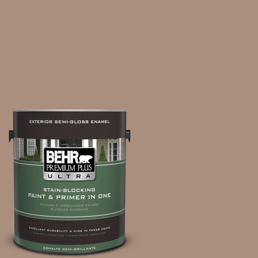 BEHR Premium Plus Ultra 1-gal. #BNC-13 Cozy Cocoa Semi-Gloss Enamel Exterior Paint