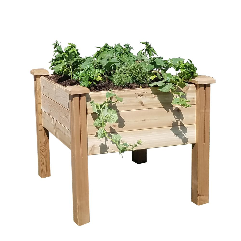 gronomics 34 in. x 34 in. x 32 in. modular elevated garden bed wood planter