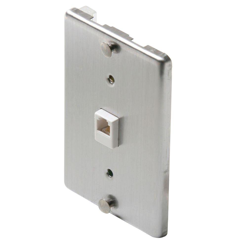 Steren 1 Gang Wall Phone Jack Steel St 300 095 The Home