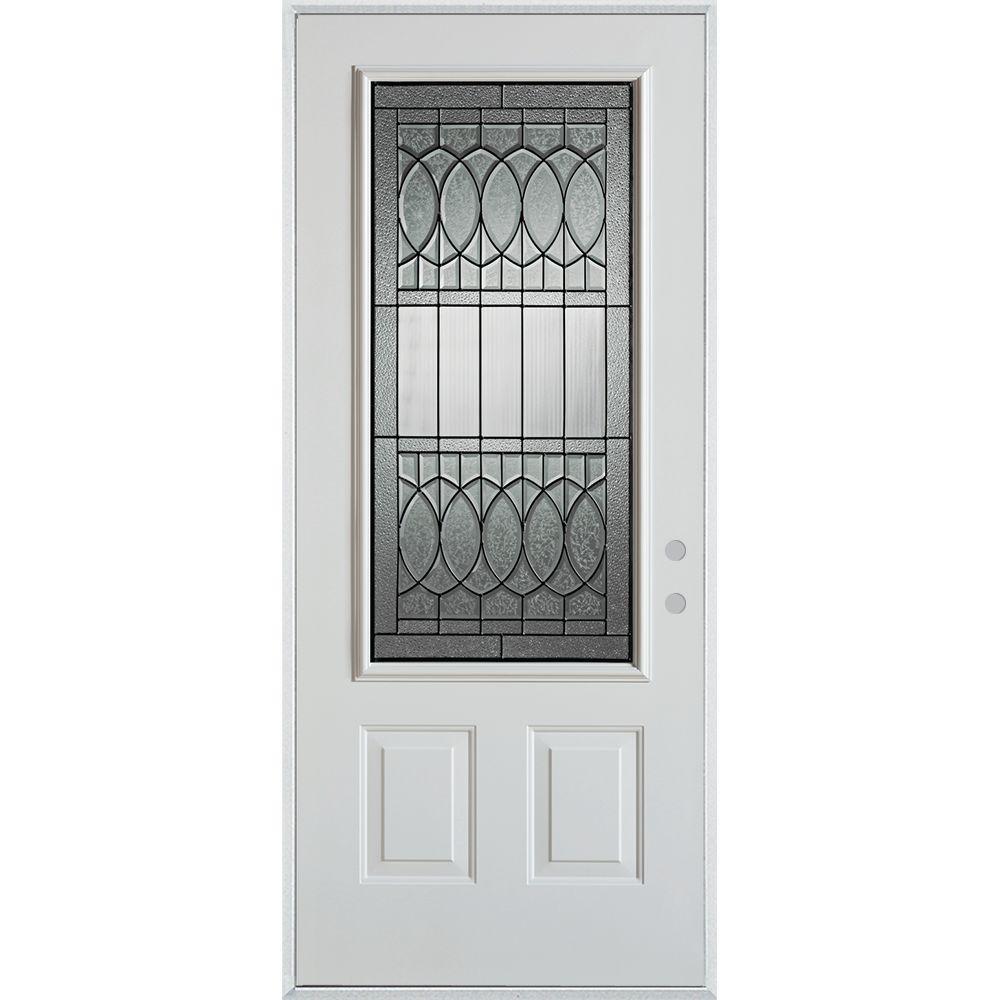 32 in. x 80 in. Nightingale Patina 3/4 Lite 2-Panel Painted White Left-Hand Inswing Steel Prehung Front Door