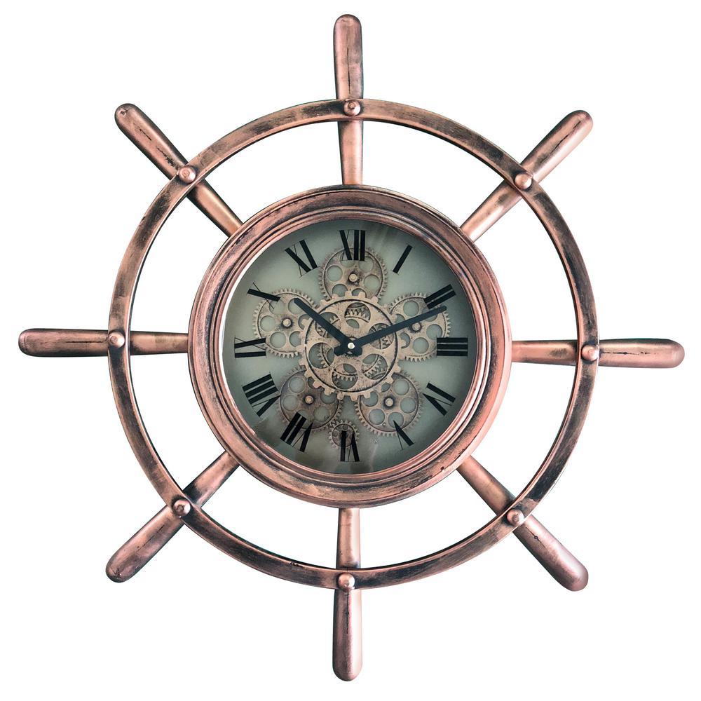 Ship's Wheel Copper Wall Clock