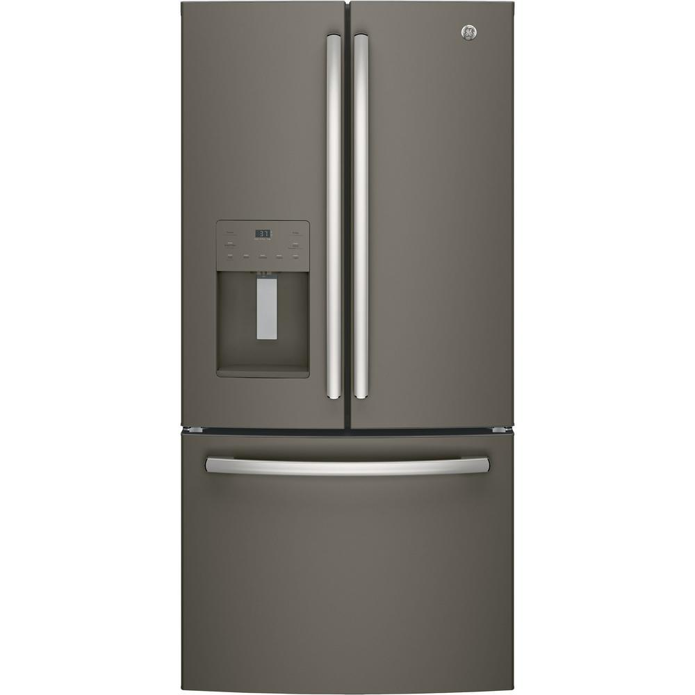 17.5 cu. ft. French Door Refrigerator in Slate (Grey), Counter Depth and Fingerprint Resistant GE appliances provide up-to-date technology and exceptional quality to simplify the way you live. With a timeless appearance, this family of appliances is ideal for your family. And, coming from one of the most trusted names in America, you know that this entire selection of appliances is as advanced as it is practical. Color: Slate.