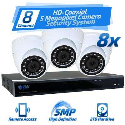 8-Channel HD-Coaxial 5MP Security Surveillance System with 8 Dome Cameras Built-In Microphone and 2TB HDD