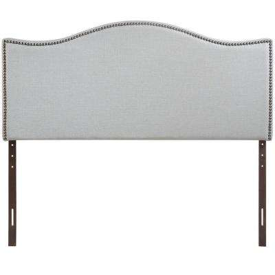 Curl Sky Gray Queen Nailhead Upholstered Headboard