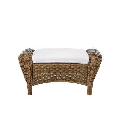 Beacon Park Brown Wicker Outdoor Patio Ottoman with Bare Cushions