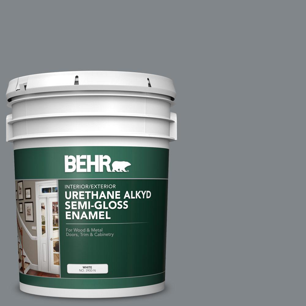 BEHR 5 gal  #N500-5 Magnetic Gray color Urethane Alkyd Semi-Gloss Enamel  Interior/Exterior Paint