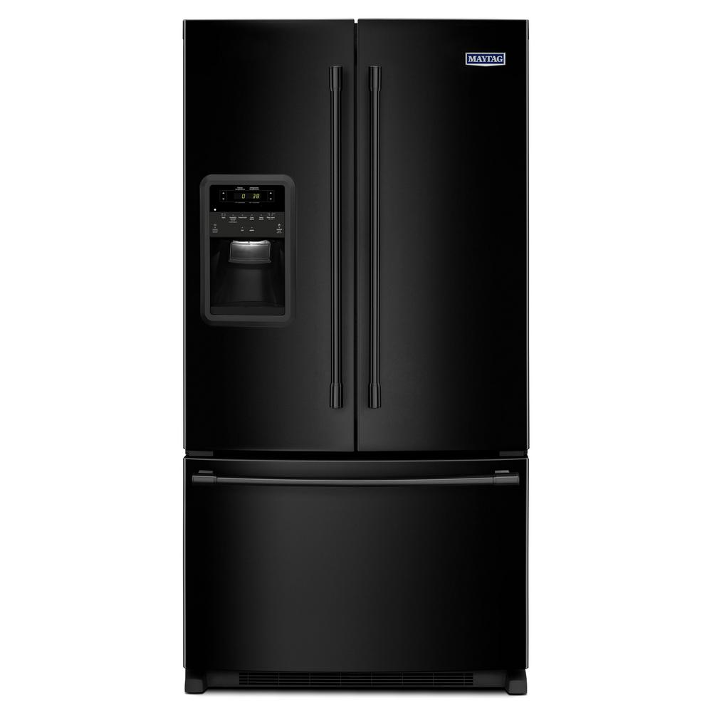 Maytag 33 in w 22 cu ft french door refrigerator in black maytag 33 in w 22 cu ft french door refrigerator in black mfi2269frb the home depot rubansaba