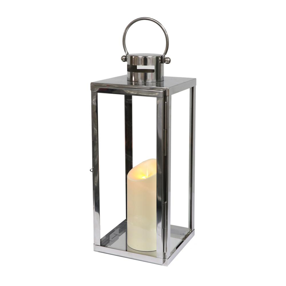 tall stainless steel battery operated lantern with flameless the home depot - Battery Operated Lanterns