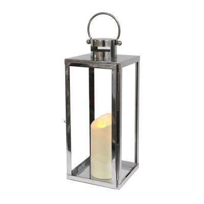 16 in. Tall Stainless Steel Battery Operated Lantern with Flameless Candle