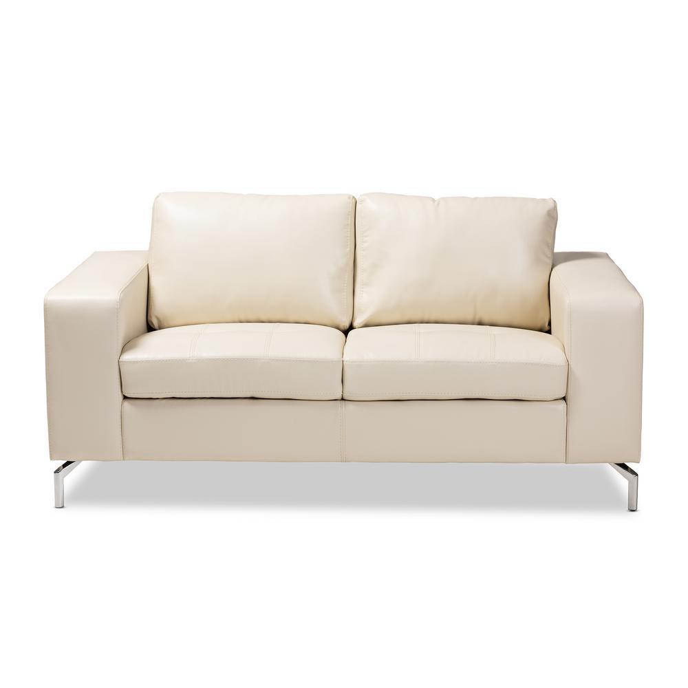 Wondrous Edmee Cream Faux Leather Loveseat Creativecarmelina Interior Chair Design Creativecarmelinacom