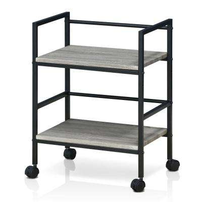 Modern MDF 4-Wheeled Storage Cart in Dark Oak