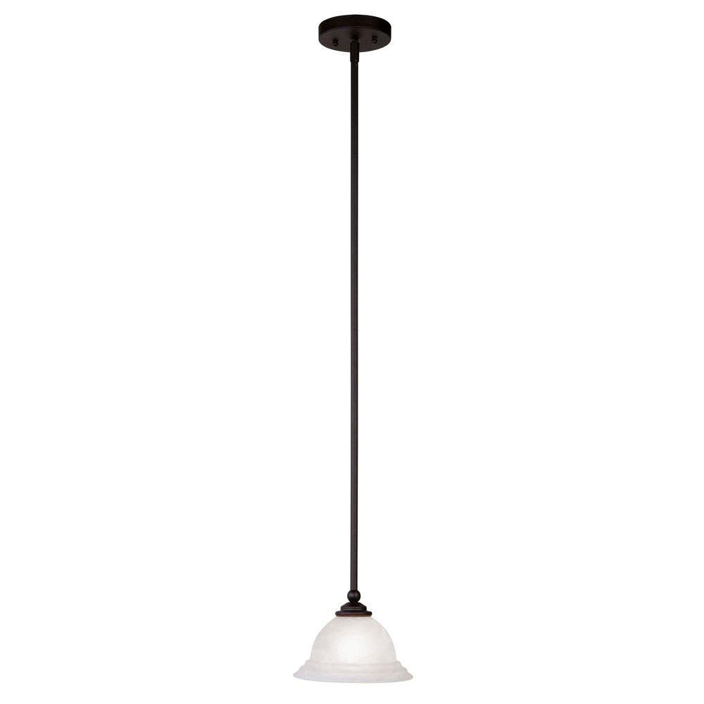 Livex Lighting 1-Light Black Mini Pendant With White