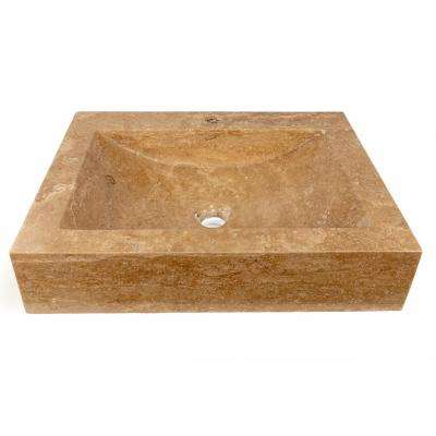 Rectangular Shallow Wave Vessel Sink with Faucet Extension in Beige Travertine