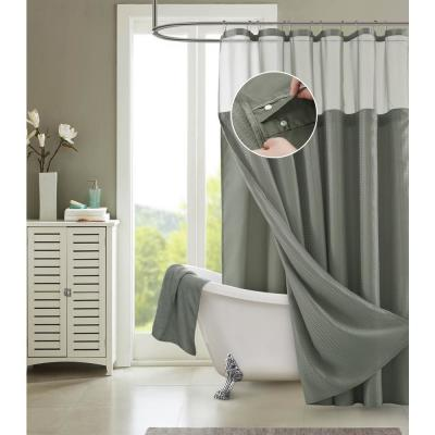 Hotel Complete 72 in. Gray Textured Waffle Shower Curtain with Detachable Liner
