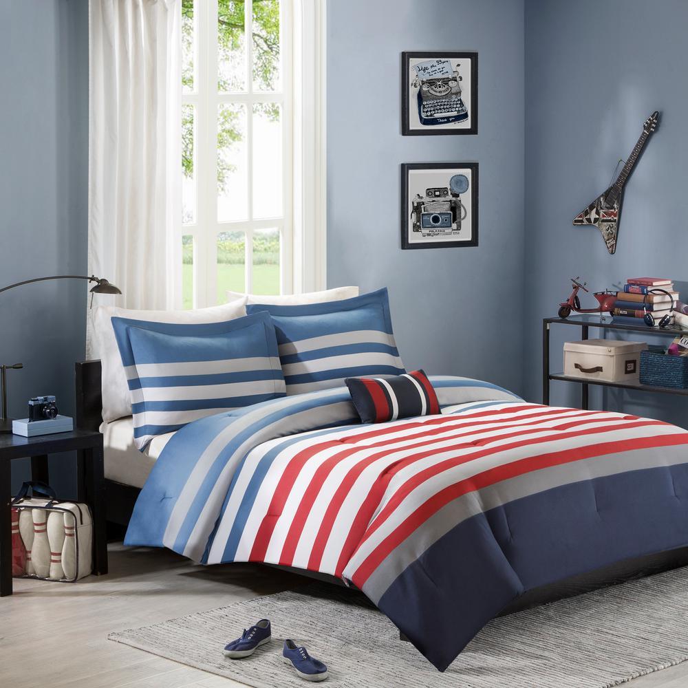 Noah 4-Piece Red/Blue Full/Queen Striped Comforter Set
