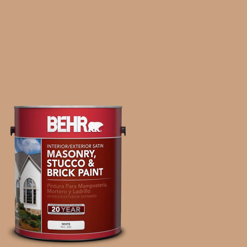 1 gal. #270F-4 Peanut Butter Satin Interior/Exterior Masonry, Stucco and Brick Paint