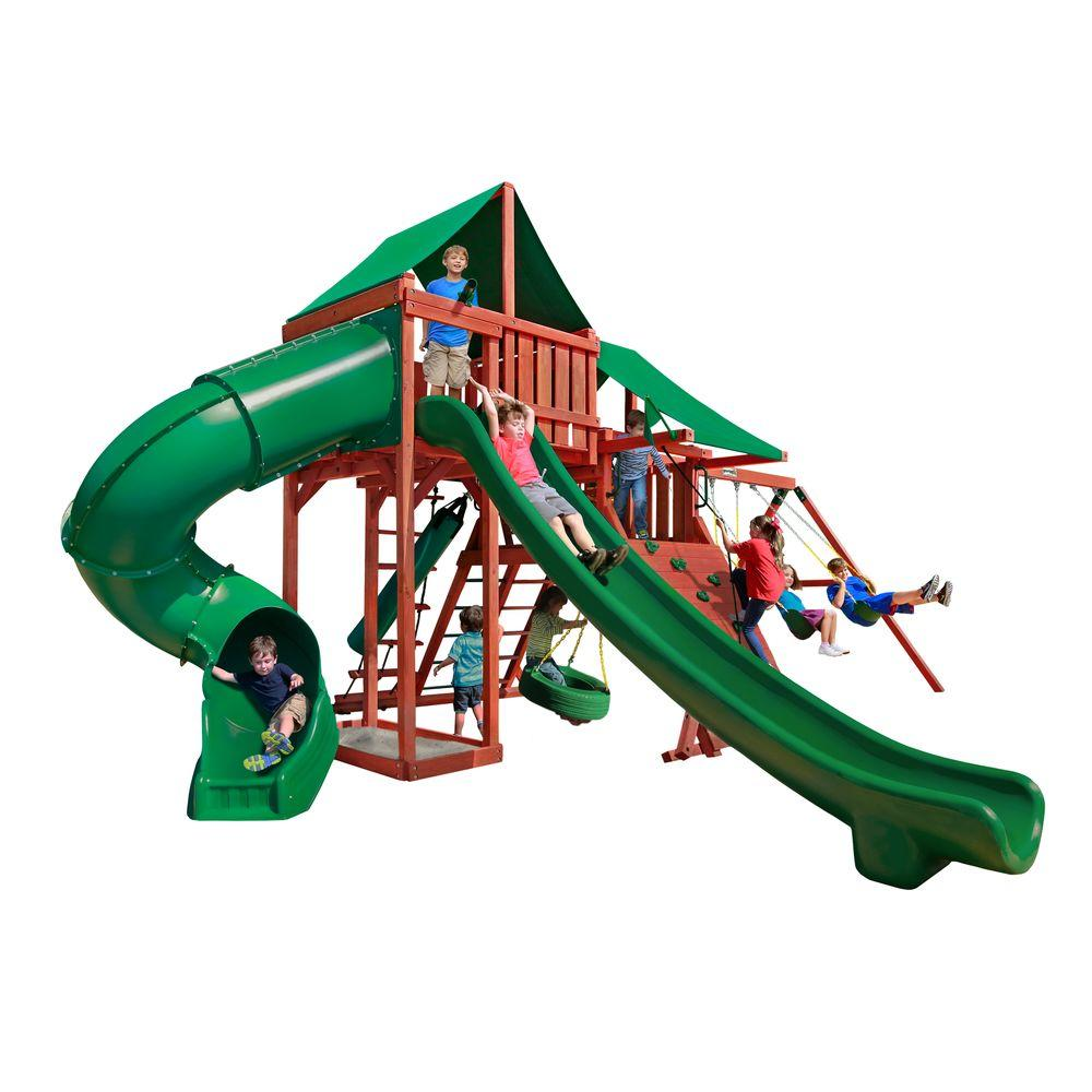 Gorilla Playsets Sun Valley Deluxe Wooden Swing Set with Green Vinyl Canopy and 2 Slides