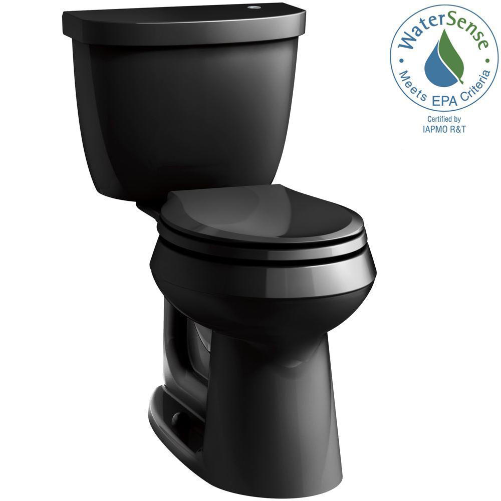 Cimarron Touchless Comfort Height 2-Piece 1.28 GPF Single Flush Round Toilet in Black