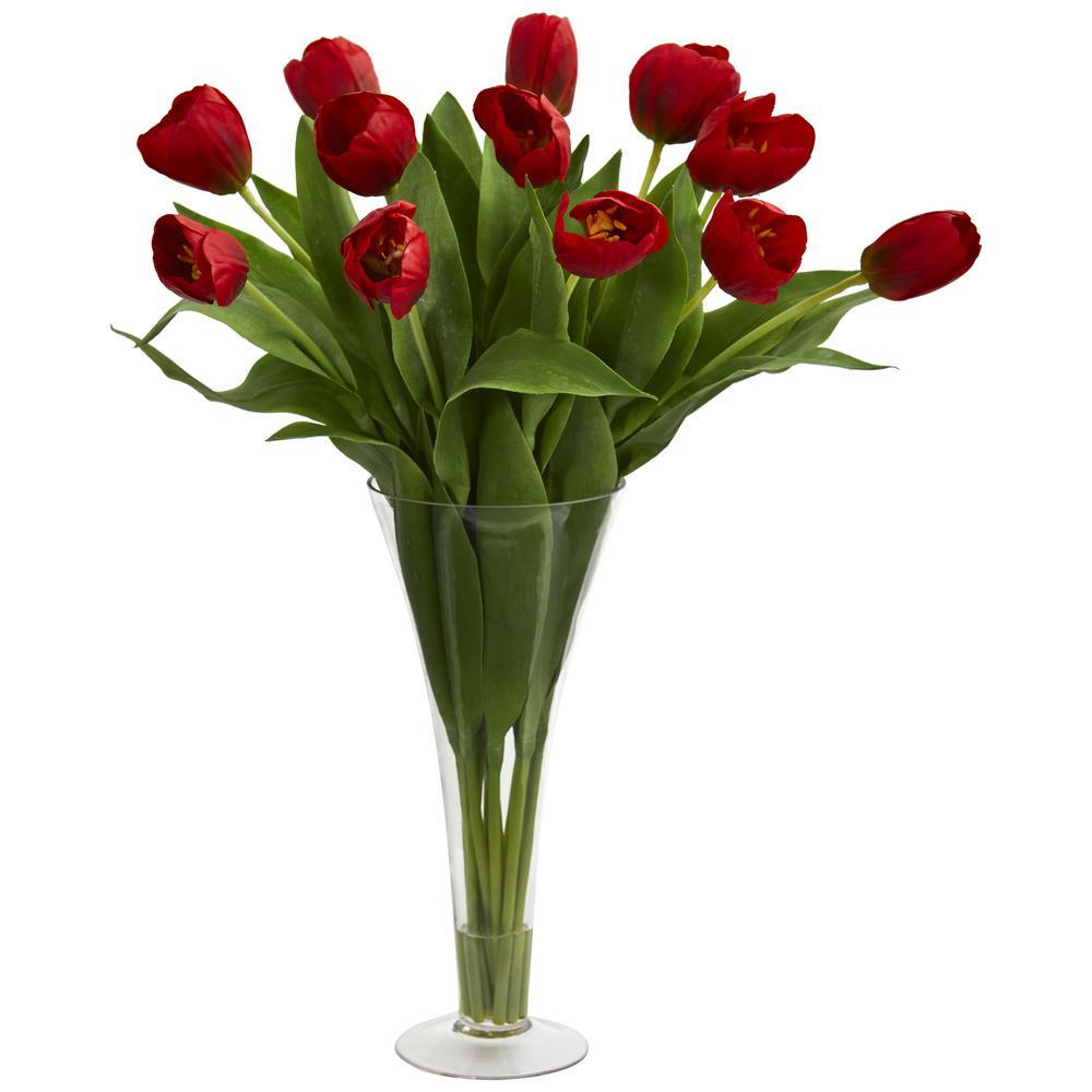 Indoor Tulips Artificial Arrangement in Flared Vase