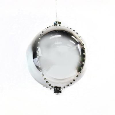 7 in. Silver Xmas Ball Ornament with 76 Chasing LED Lights and Timer
