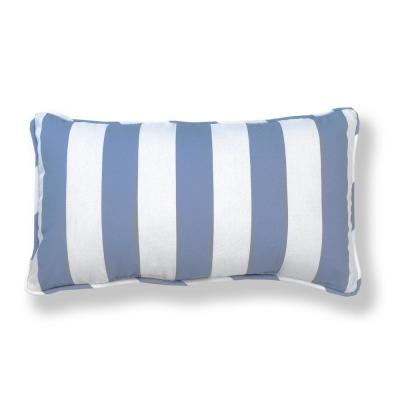 Denim Awning Stripe Outdoor Lumbar Pillow