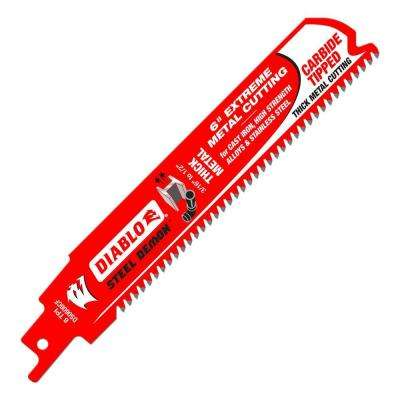 6 in. 8 TPI Steel Demon Carbide-Tipped Thick Metal Cutting Reciprocating Saw Blade