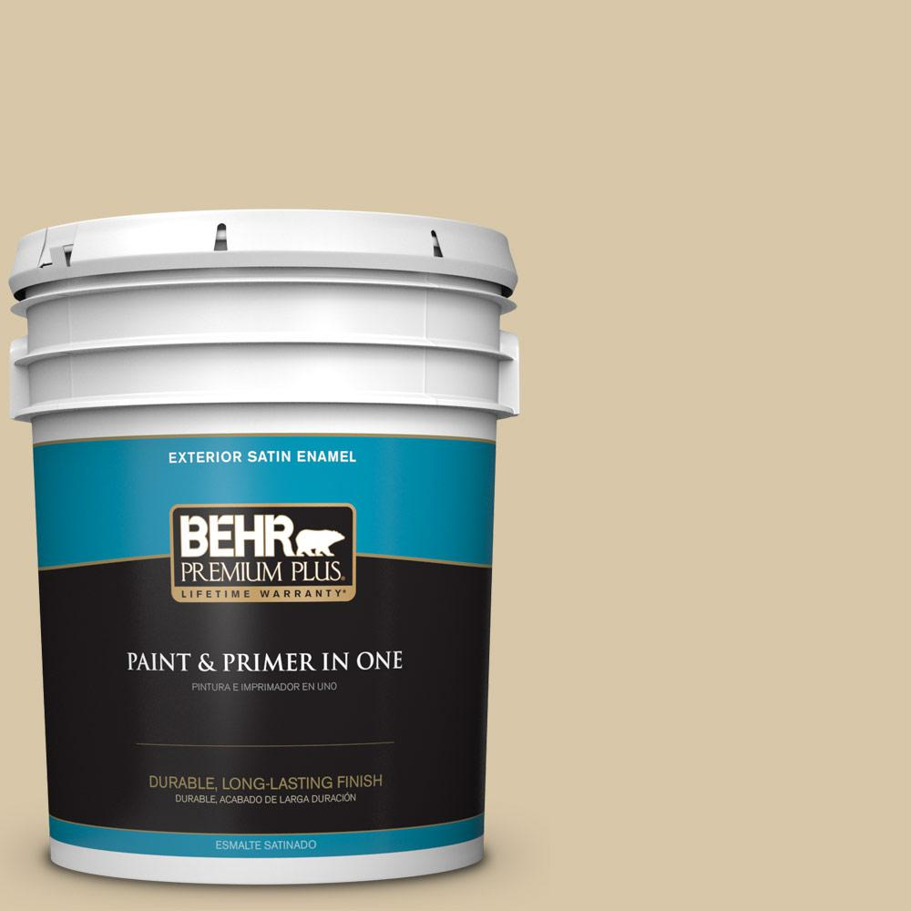 5 gal. #PPU4-13 Sand Motif Satin Enamel Exterior Paint