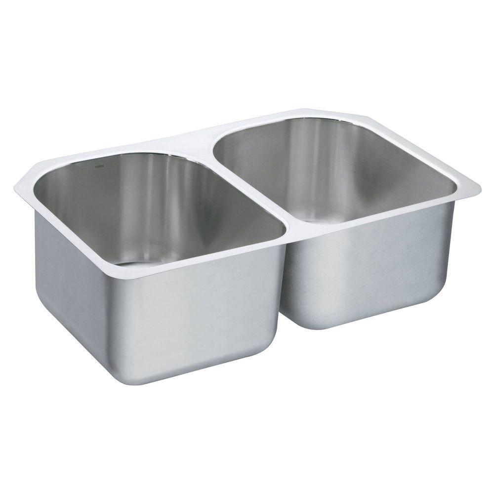 1800 Series Undermount Stainless Steel 29.25 in. Double Bowl Kitchen Sink