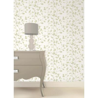 8 in. x 10 in. Beech Natural Leaf Wallpaper Sample