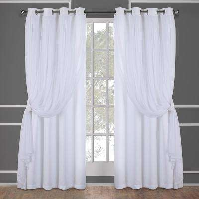 Catarina Winter White Layered Solid Blackout and Sheer Grommet Top Window Curtain