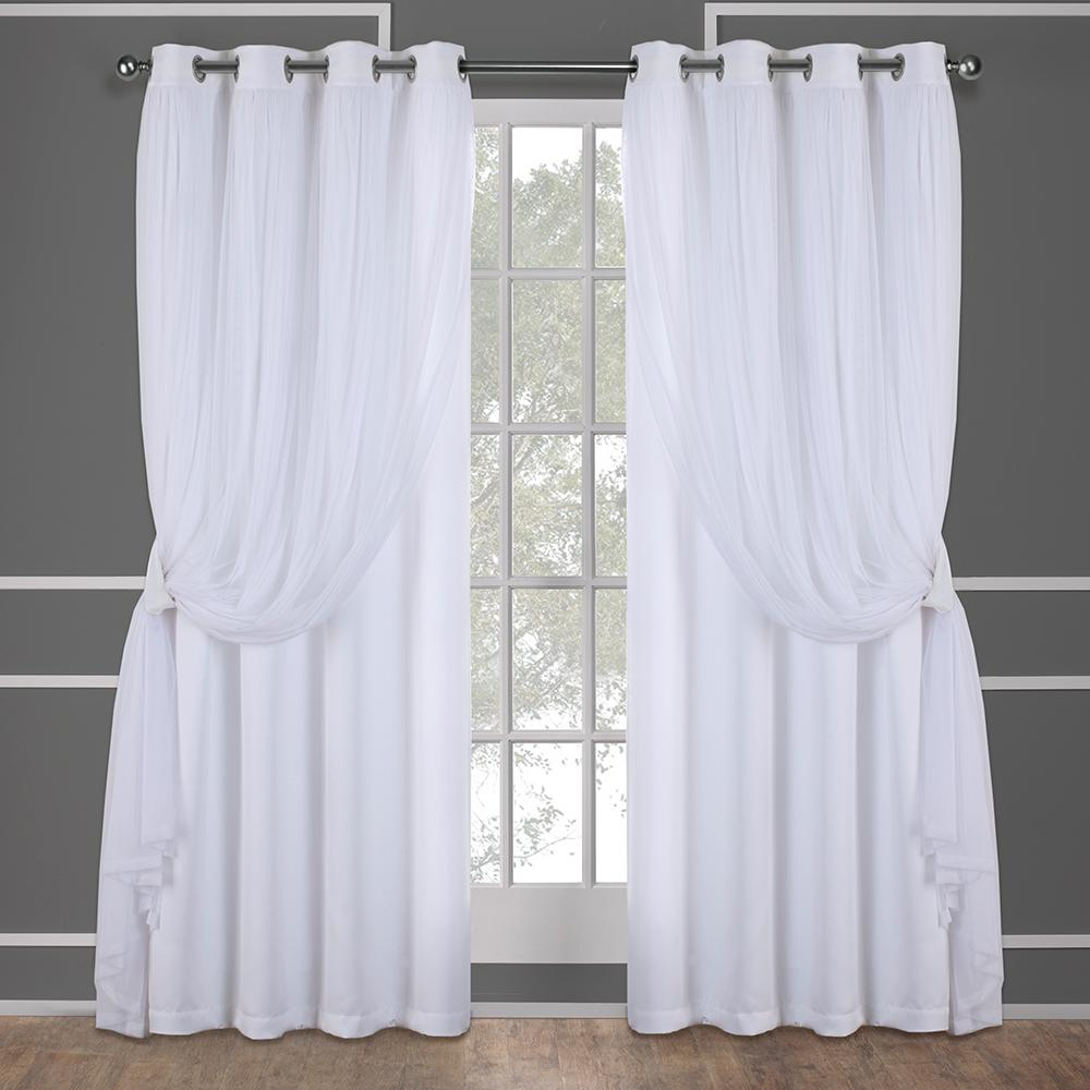 Catarina 52 in. W x 108 in. L Layered Sheer Blackout Grommet Top Curtain Panel in Winter White (2 Panels)