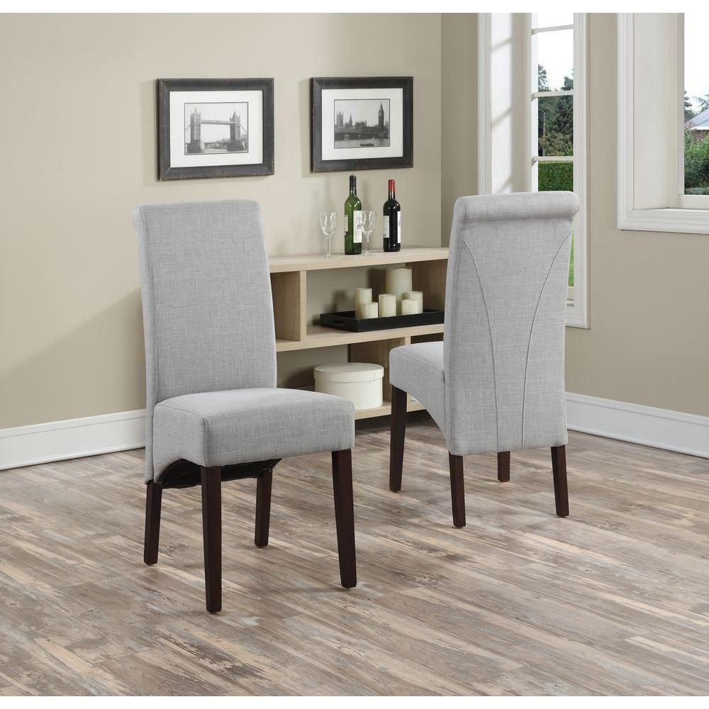 Simpli Home Avalon Dove Grey Polyester Parsons Dining Chair (Set Of  2) WS5134 DGL   The Home Depot