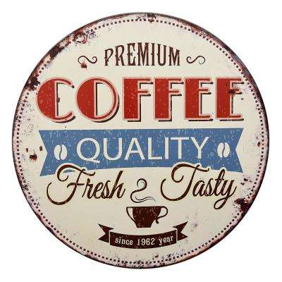 32 in. Round Metal Coffee Sign Wall Decor