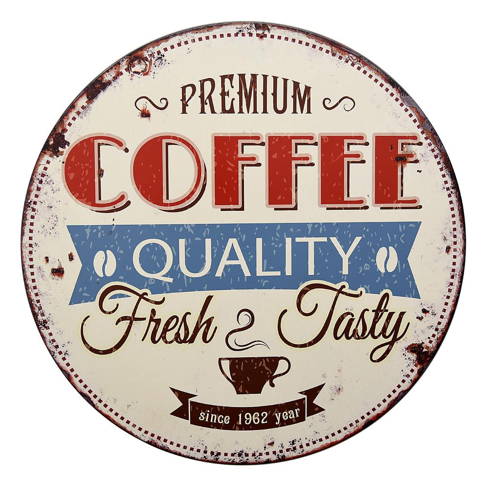 Three Hands 32 In Round Metal Coffee Sign Wall Decor 66495 The