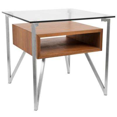 Hover Clear Glass, Walnut Wood, and Stainless Steel End Table