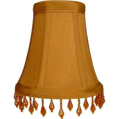 Stretch sable pure silk chandelier shade with amber beaded trim