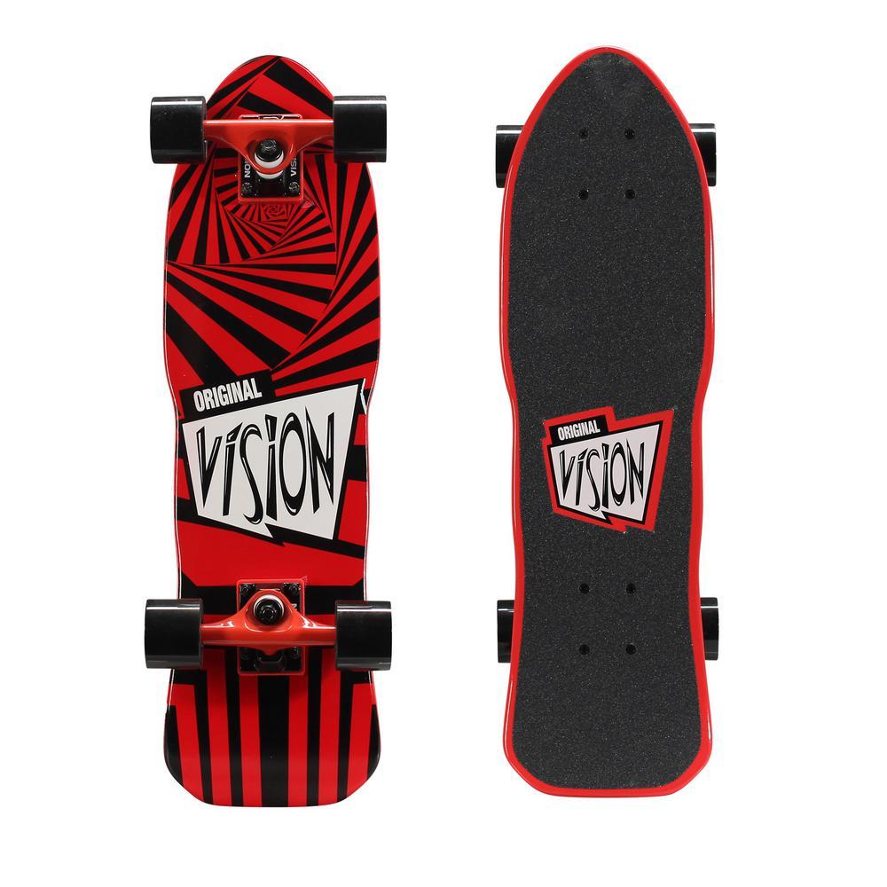 26 in. Mini Cruiser Skateboard in Red and Black