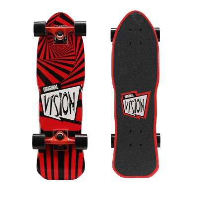 26 in. Mini Cruiser Skateboard in Red and Black