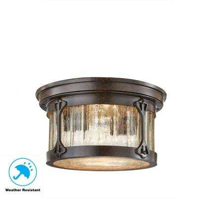 Lamont 2-Light Chestnut Outdoor Flushmount