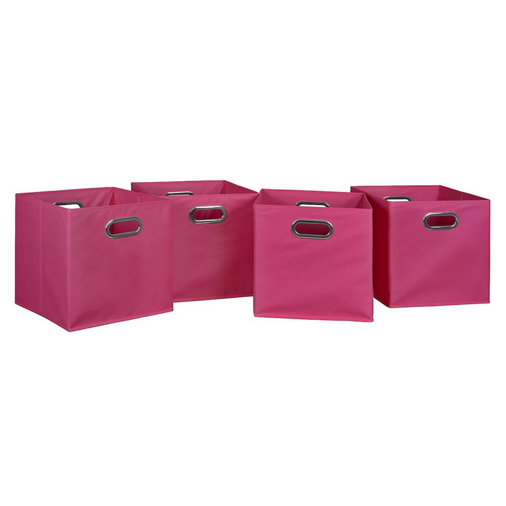 Cubo 12 in. x 12 in. Pink Foldable Fabric Bin (4-Pack)