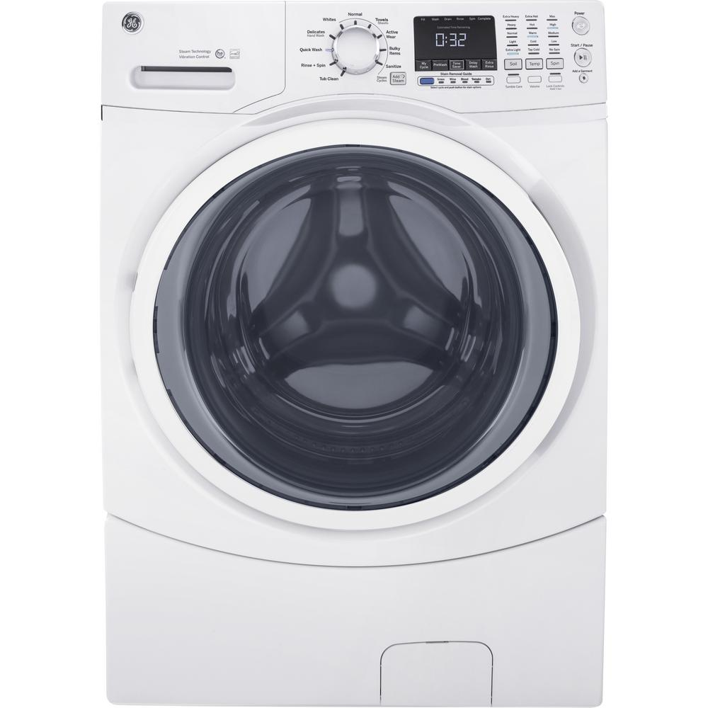 Ge 4 5 Cu Ft High Efficiency White Front Load Washing Machine With Steam