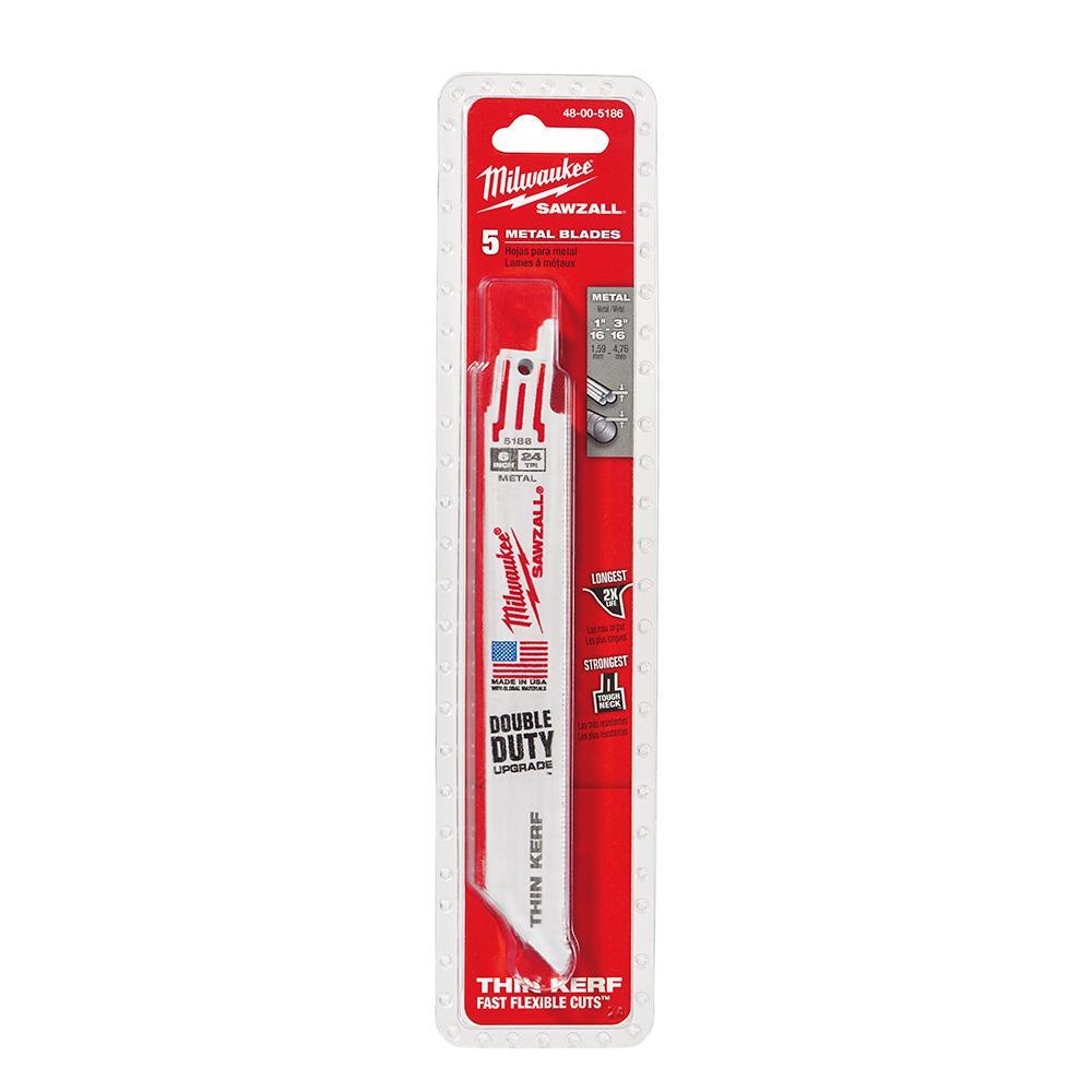 6 in. 24 Teeth per in. Thin Kerf Metal Reciprocating Saw Blade (5-Pack)