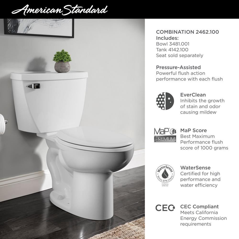 American Standard Cadet Pressure Assisted 2 Piece 1 1 Gpf Single Flush Elongated Toilet In White Seat Not Included 2462 100 020 The Home Depot